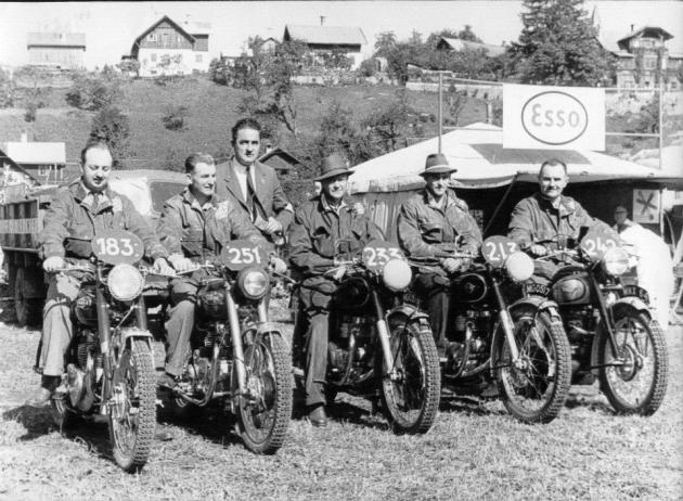 #183 Bob Ray #251 Jack Stoker Royal Enfield 692cc #233 Hugh Viney AJS 498cc [MGO 518] #213 S B Manns Matchless 498cc [MGO 517] #242 Jim Alves Triumph 649cc [MNX 64] in the British Trophy team for the ISDT 1952