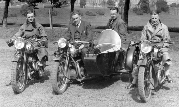 Photo - GB Trophy Team L to R, Bert Perrigo (BSA Sloper), Harry Perrey and Passenger, Eric Pearson, with the Ariel Square Four outfit and George Rowley with the short-lived AJS 496cc transverse side-valve twin. ISDT 1931 (Courtesy Deryck Wylde collection)