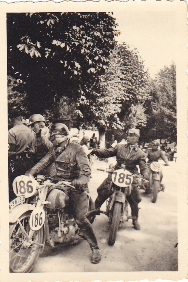 photo - German riders #185 R Knees NSU 250 #186 K Thumshirn Ardie 246 #189 W Reinhardt BMW 597 in Salzburg during the ISDT 1939
