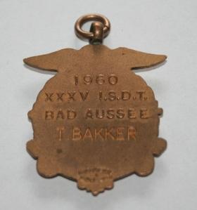 image - Ton Bakker's Gold Medal (rear) ISDT 1960