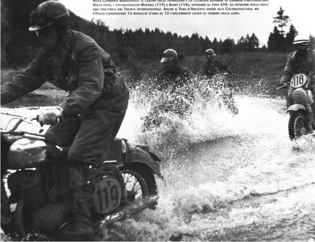 Photo - #119 Mateika of the Czech Trophy team is follwoed by #118 Klimt of the Czech Vase team both on Jawa 250 machines ISDT 1958