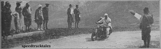 photo - An Italian soldier giving Henne the 'all clear' as a danger point in last year's trial. ISDT 1931 (Speedtracktales archive)