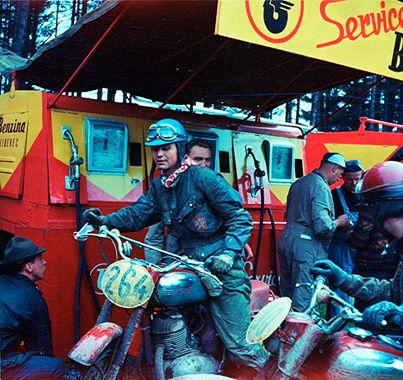 Photo - #264 Frantisek Hoffer Jawa 350 of the Czech Trophy Team gets fuel ISDT 1963