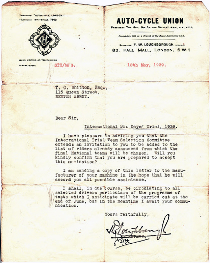 Image of Tom Whitton's appointment to the British Team from the ACU ISDT 1939 (Courtesy Whitton Family Collection)