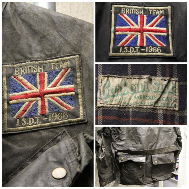 ISDT Great Britain Team Barbour  introduced in the 1930's and used well into the 1970's and now a retro classic fashion item on every high street