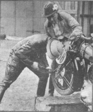 Photo of German riders preparing bike ISDT 1937