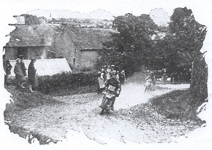 Image of #100 H van der Veen (Scott) and Y Ericsson (Husqvarna) on Bassenthwaite Hause ISDT 1927