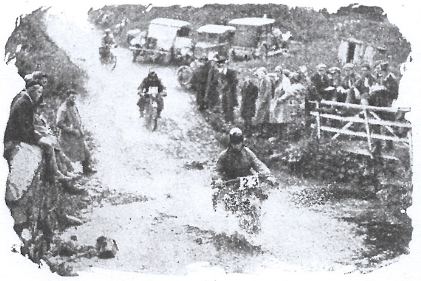 Image of #23 JJ van Kooten (Harley Davidson) and WF Newsome (Humber) & CW Hough (AJS) at the Longlands Splash ISDT 1927