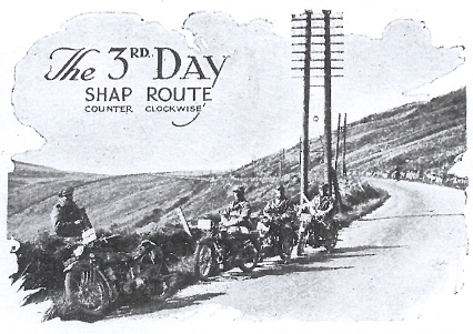 Image of GW Hole (Raleigh) PA Holder (Royal Enfield) JJ Boyd-Harvey (James) and M Valgaard (Rudge Whitworth) resting at Shap ISDT 1927
