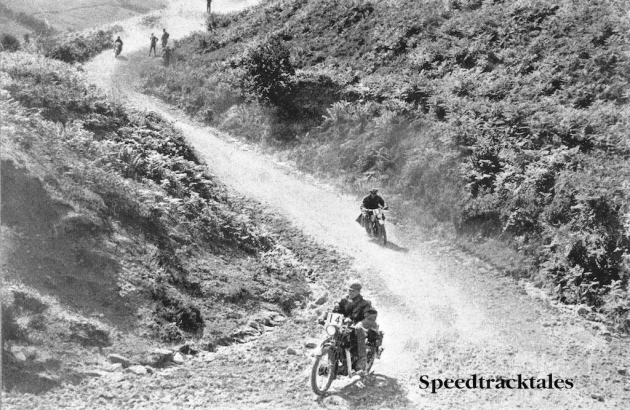 Photo of rider #14 followed by #12 on Whitehorse Hill ISDT 1928 (from Speedtracktales Archive)