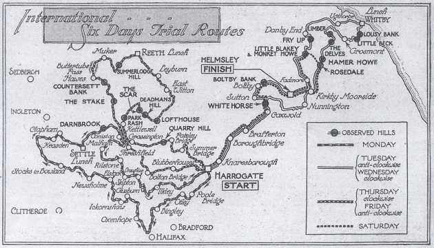 image - scanned copy of map of ISDT route ISDT 1928