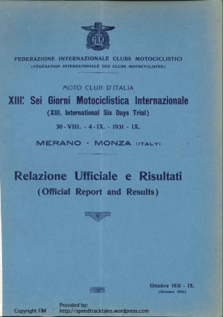 Image of scanned cover of of Official Report and Results ISDT 1931