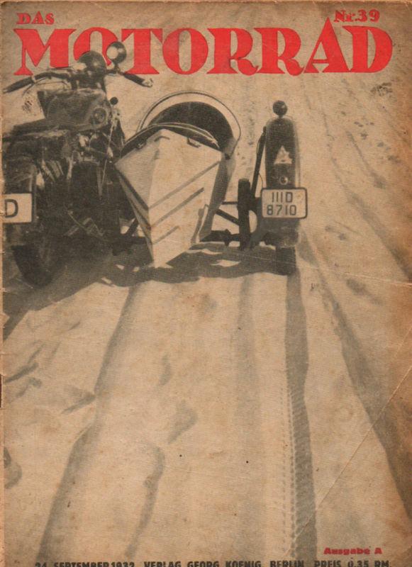 image - cover Das Motorrad #39 24th Sept 1932 ISDT 1932