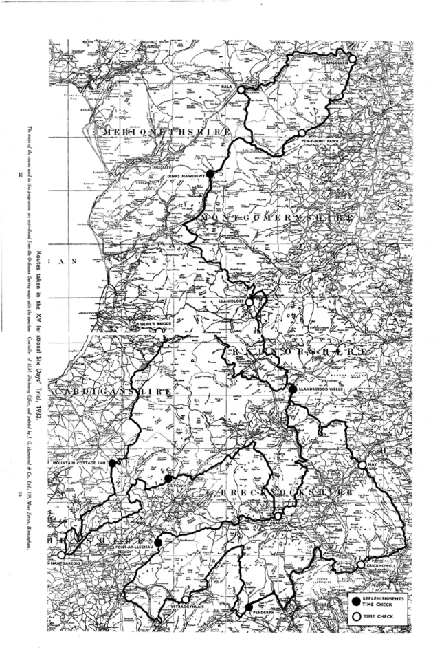 Image of scanned copy of course map for ISDT 1933