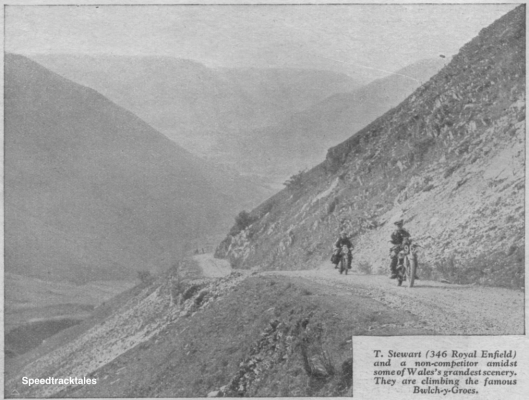 Photo – #96 T Stewart (346cc Royal Enfield) and a non-competitor amidst some of Wales's grandest scenery. They are climbing the famous Bwlch y Groes. ISDT 1933 (from Speedtracktales Archive)