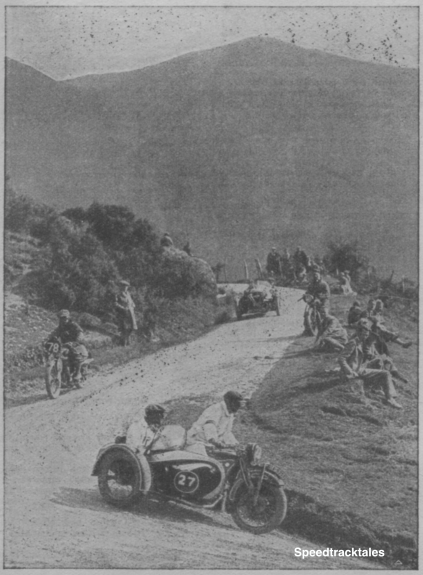 Photo – #27 Mauer – Meyer with is very striking 750cc B.M.W outfit leading #78 J Swift (348cc Ariel) and #25 GC Harris (1096cc Morgan) on the descent of the Bwlch y Groes on Thursday ISDT 1933 (from Speedtracktales Archive)