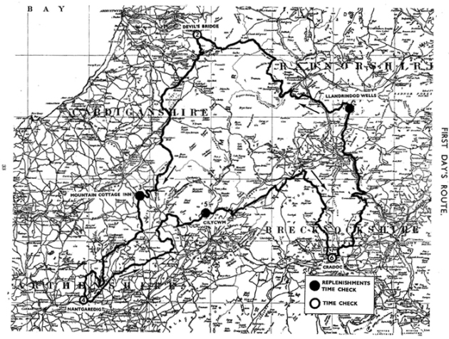 Image of scanned copy of course map for Day 1 ISDT 1933