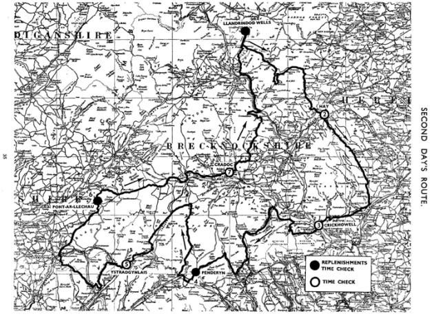 Image of scanned copy of course map for Day 2 ISDT 1933
