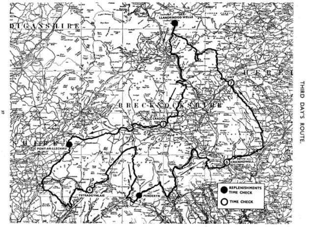 Image of scanned copy of course map for Day 3 ISDT 1933