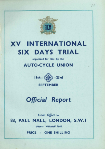Image of scanned cover of FIM Stewards Report for ISDT 1933