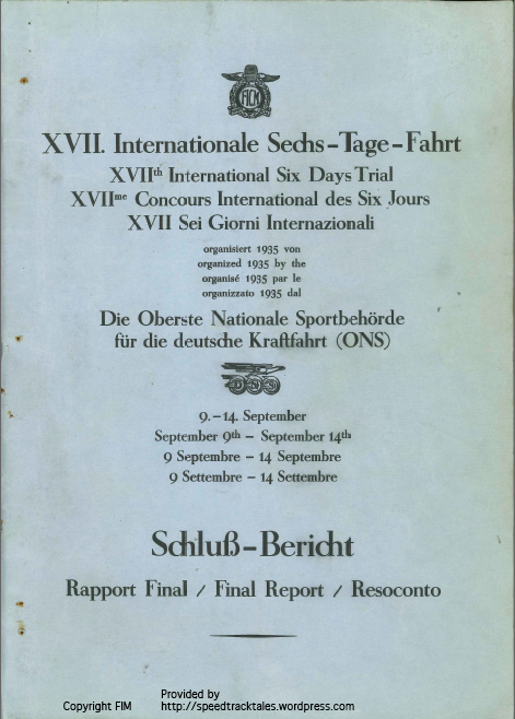 Image of scanned cover of final report ISDT 1935