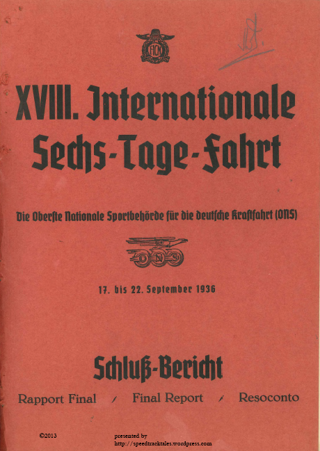 Image - Scanned cover of FICM Final Report with full results ISDT 1936