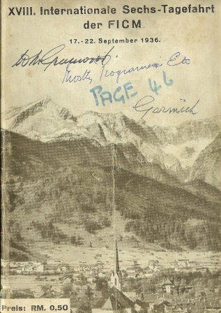 Image - scanned cover Official Programme of ISDT 1936 (Greenwood Family Collection)