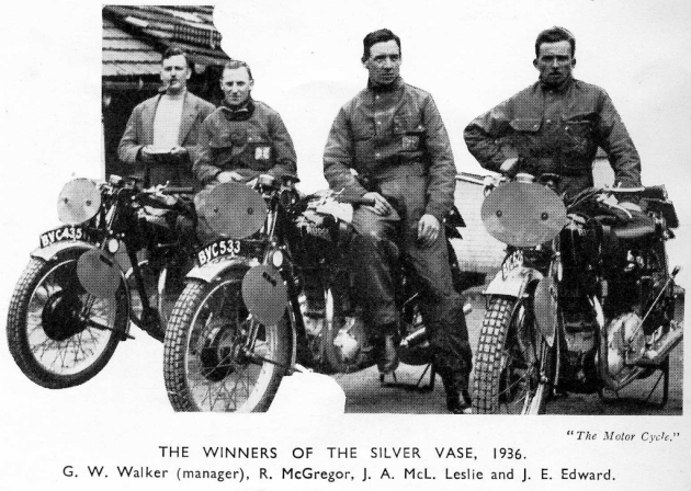Photo – scanned image of International Silver Vase winning team from Great Britain of G.W Walker (manager) R McGregor, J.A McLeslie and J.E Edward from 'the Motor Cycle' via the 1937 programme (courtesy of the Wryan Collection) ISDT 1936