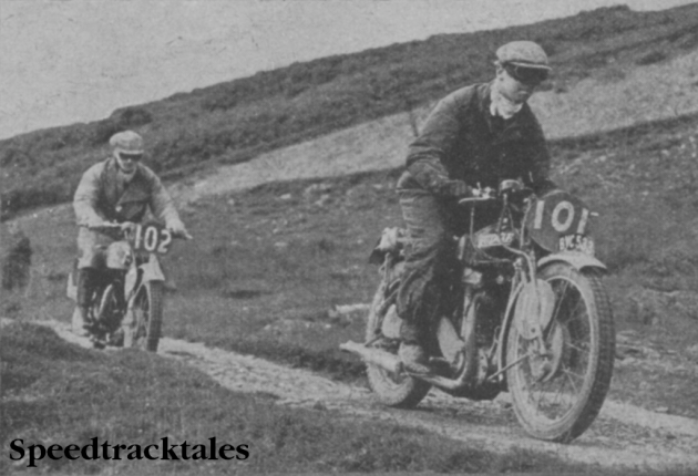 Photo #101 J Leslie (499cc Rudge) leading JJ Booker (346cc Royal Enfield) across the Tregaron Pass on the Wednesday ISDT 1937 (from Speedtracktales Collection)