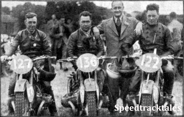 Photo - The Dutch 'A' team winners of the Vase - #127 AP van Hamersveld, #136 G Bakker-Schut and #122 J Moejes, all riders of BMWs ISDT 1937 (Speedtracktales Collection)