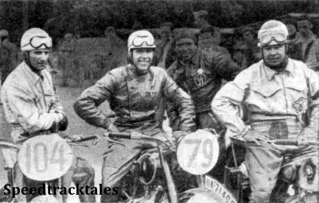 Photo - Beaten by a narrow margin of ten seconds - the German Trophy team consisting (Left to right) of L Kraus, G Meier, and J Stelzer ISDT 1937 (Speedtracktales Collection)