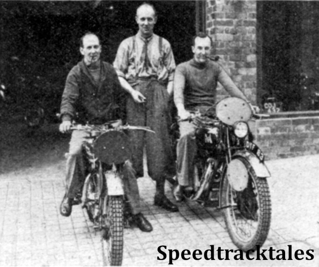 Photo - The Irish B Team lost nineteen marks. Stewart, in common with many other competitors, ran off route on the Thursday. From left to right: T Stewart (346 Royal Enfield, H McKee (498 Levis) and S Moran (498 Matchless) ISDT 1937 (Speedtracktales Collection)