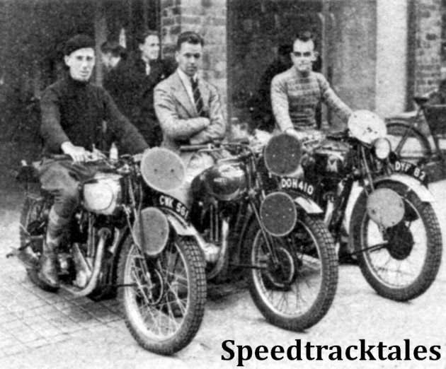 Photo - The Irish A Team which finished the trial without the loss of a mark. left to right RC Yeates (349 Triumph), AHL Archer (497 Ariel) and CW Duffin (498 Matchless) ISDT 1937 (Speedtracktales Collection)