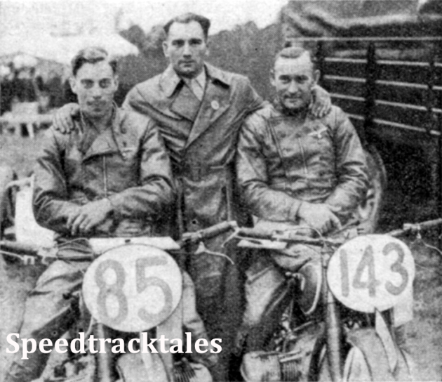Photo - The German B Team which for a while was thought to have won the INternational Vase. Left to right J Forstner, F Lindhardt and A Möhrke, all riders on BMWs ISDT 1937 (Speedtracktales Collection)
