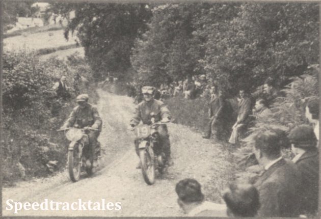 Photo - British Riders in the International: J Williams (348 Norton) and T Robbins (248 Royal Enfield) on Allt-y-Bady ISDT 1937 (Speedtracktales Collection)