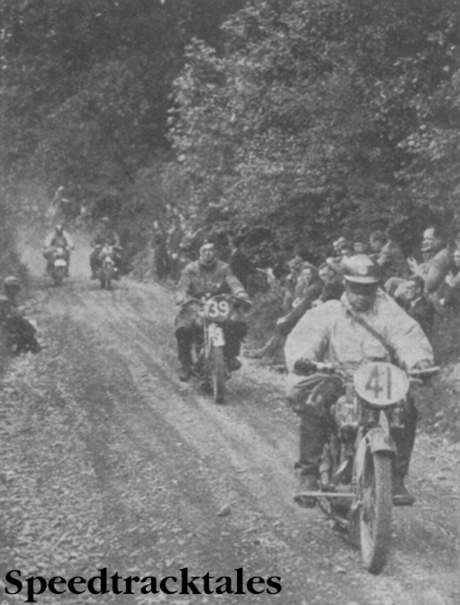 Photo C Geffers (241 Hercules) leading B Stronge (246cc Matchless) and two other competitors up the long steep gradient of the Allt-y-Bady, which was tackled just before the lunch stop on the monday