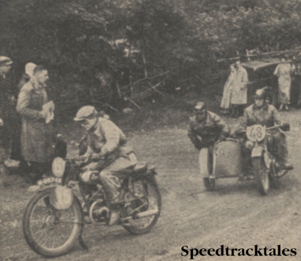 Photo GW Sannes (122 Eysink) and P Scahfer (596cc Victoria Sc) rounding the hairpin at the Bwlch y Groes ISDT 1937
