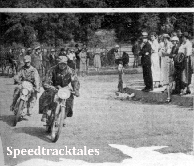 Photo - The difference in schedule speeds can be judged from the numbers of these two competitors seen on the outskirts of Builth Wells. #6 is JC Verkerke, a Hollander on a 125cc Eysink and #185, Gordon Wolsey of the Ariel team on a 497cc Ariel ISDT 1937 (Speedtracktales Collection)