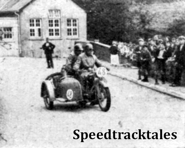 Photo - School Children watching P Scähfer (596 Victoria sc) at White Mill corner on the fourth days run/ Even on Ordinary main road corners the German sidecar passengers often went in for Acrobatics ISDT 1937 (Speedtracktales Collection)