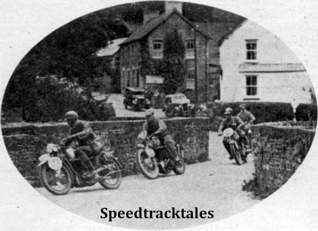 Photo - W Schiel (242 NSU) GE Rowley (346 AJS) C Geffers (241 Hercules) crossing a narrow bridge on the fourth day ISDT 1937 (Speedtracktales Collection)