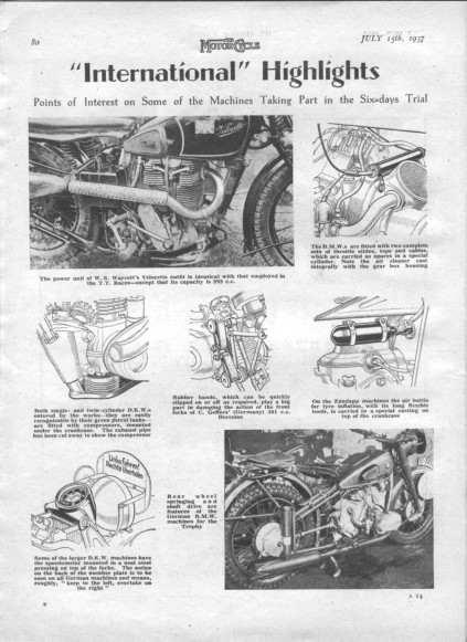 Image of scanned page from 'the Motor Cycle' 15 July 1937 featuring some of the points of interest in competitors machinery ISDT 1937