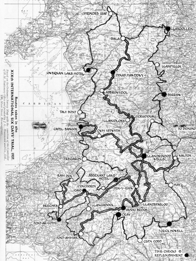 Image of scanned map from program of course route ISDT 1937