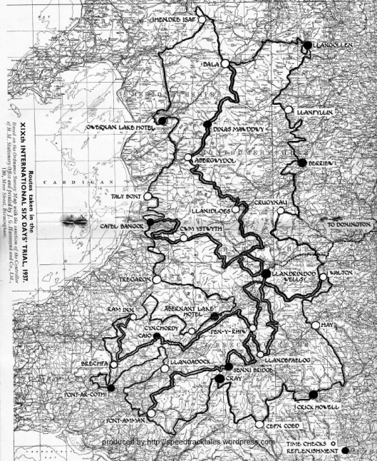 Image of scanned Route Map from event programme ISDT 1937