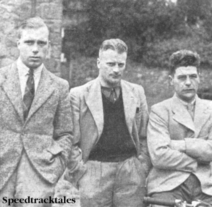 Photo - GB Trophy Team l-r Vic Brittain (Norton) George Rowley (AJS) and WS Waycott (Velocette) ISDT 1937 (Speedtracktales collection)