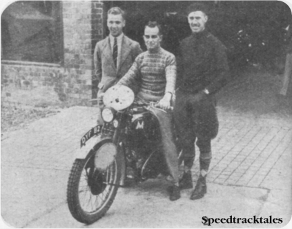 Photo - Ireland 'A' Vase team l-r AHL Archer (497 Ariel) CW Duffin (498 Matchless) [DYF 82] and RC Yates (349 Triumph) ISDT 1937 (Speedtracktales collection)