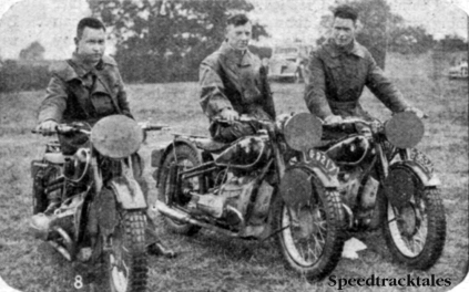 Photo - Holland 'A' Vase team l-r G Bakker Schut (500 BMW) AP van Hamersveld (500 BMW) and J Moejes (500 BMW) ISDT 1937 (Speedtracktales collection)
