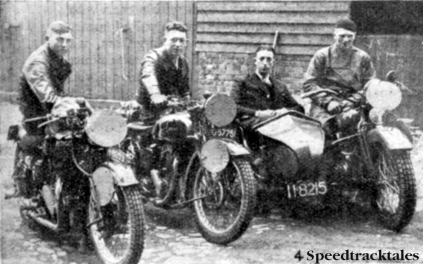 Photo - Holland 'B' Vase team l-r J Roest (500cc Rudge) JE Fyma (500 Ariel) and HM Persoon (1000 Harley Davidson sc) ISDT 1937 (Speedtracktales collection)