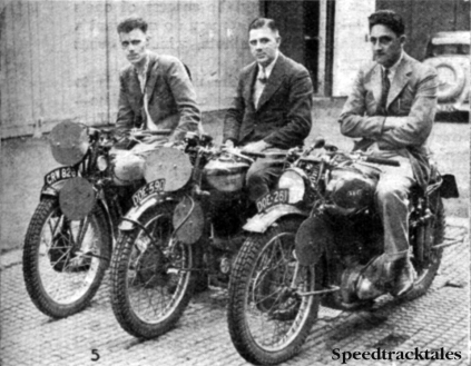 Photo - Great Britain 'A' Vase team l-r A Jeffries (349 Triumph) [CRW 828] J Williams (348 Norton) [DDE 590] and LJ Heath (497 Ariel) [DOE 261] ISDT 1937 (Speedtracktales collection)