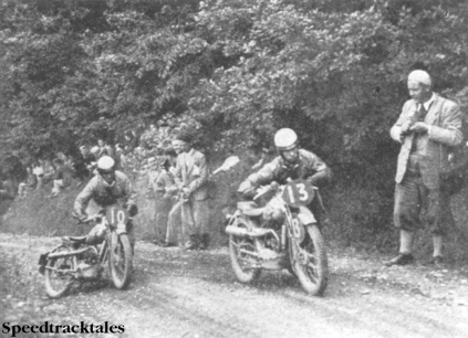 Photo - The little 98cc DKWs found the Alt-y-Bady a difficult climb. Here are #10 Heusden and #13 W. Zylaard, the Dutchmen, helping their modles up the hill ISDT 1937 (Speedtracktales collection)