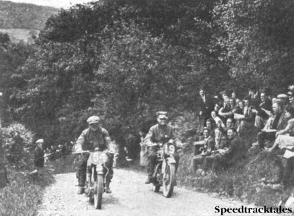 Photo - Jack Williams (Norton) of our Vase 'A' team abreast of T. Robbins (Ariel) as they climb Alt-y-Bady. ISDT 1937 (Speedtracktales collection)